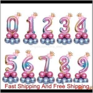 Birthday Balloons Rainbow Number Foil Ballons 1 2 3 4 5 6 7 8 9 Years Old Happy Birthday Party Decorations Kids Decor Air Ballon L8Edf Yw0T2