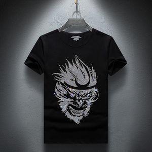 2021 New Summer Strass T-shirt uomo manica corta moda uomo streetwear o collo sottile cotone casual magliette plus size S-7XL 0869