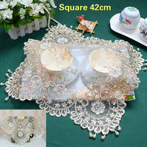 European Luxury Sequins Beaded Lace Tablecloth Table Runner Kitchen Placemat Appliances Cover Cloth Wedding Cup Mat