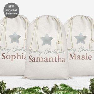 Sublimation Blanks Christmas Santa Sacks Monogrammable Christmas Gift Bags Sack DIY Drawstring Bag Bulk OWD10439