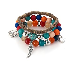 Creative Wing Tower Multi String Coconut Shell Glass Frosted Women's Fashion Multi-layer Elastic Bracelet