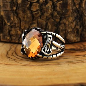 925 Sterling Si er Ring for Men Orange Zircon Stone Jewelry fashion vintage Gift Aqeq Onyx Mens Rings All Size Made in Turkey