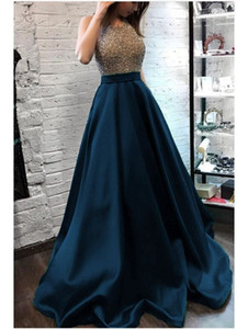 2021 navy blue stain sparkle beaded halter Muslim Evening Dresses Saudi Arabic vestaglia donna Prom Gowns floor length abendkleider