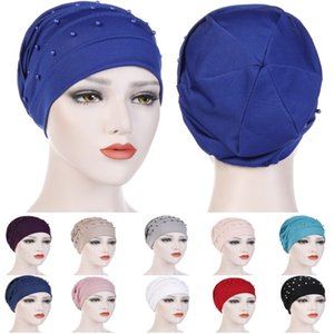 New Solid Color Crystal Linen Fold Nail Beads Turban Cap Muslim Hat Multi-color Headbands for Women Fashion Hair Accessories