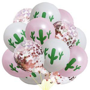 15PCS Cactus Balloons Set Cactus Latex Balloons Confetti Balloons Fits for Fiesta Birthday Wedding Party Decoration