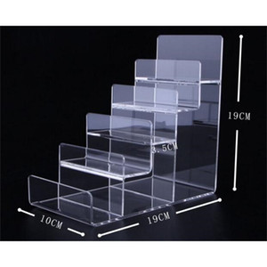 Free shipping 5-layers Acrylic Wallet Display Stand Purse Holder fashion phone cosmetics jewelry shelf Nail polish display rack T200413