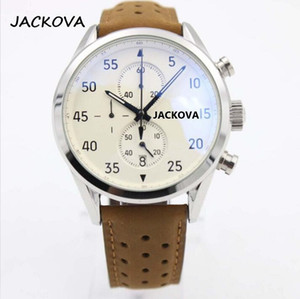 Classic Mechanical Automatic Watches NEW Brown Chronograph Leather Watch Mens Sports Style Wristwatches