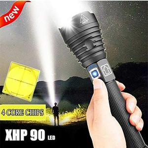 높은 루멘 XHP90 가장 강력한 LED 손전등 USB 충전식 토치 XHP50 XHP70 핸드 램프 26650 18650 배터리 플래시 라이트 201019 58 W2
