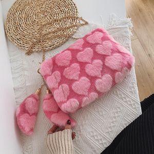 New Winter Fluffy Big Shoulder Bag For Women Leopard Zebra Print Underarm Bags Love Heart Pattern Soft Plush Warm Fur Tote Bags