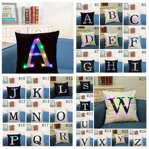 Led Letters Pillow Case Cuscino Copertura A-Z Italiano Lettera Lettera Pillowcases Linen Throw Throw Pillowcases Divano Auto Pillowcover GRATIS DHL LXL588Y D