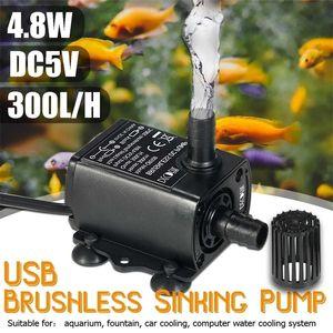 USB DC5V 4.8W Ultra-quiet Mini Brushless Water Pump Waterproof Submersible Fountain Aquarium Circulating 300L H Lift 300cm Y200917