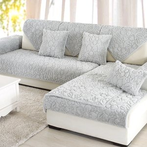 Plush Gardenia Stereoscopic Embossed Sofa Cover Cotton Non-Slip Sofa Chair Covers Mats Living Drawing Room Decorative L-Shaped