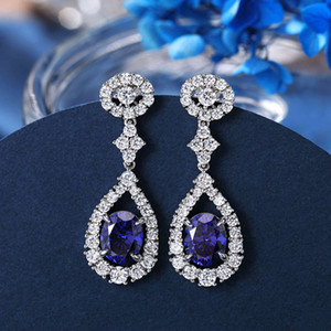 HBP fashion luxury new pure silver S925 simple personality blue tansang Stone women's best-selling Earrings