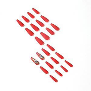 False Nails 24pcs Red Nail Patch Glue Type Removable Solid Color Long Paragraph Fashion Manicure Save Time Nep Nagels
