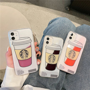 Lovely Cartoon Coffee Cup Dynamic Liquid Quicksand Back Cover for iPhone 12 Mini 11 Pro XS Max XR 6s 7 8 Plus SE2020