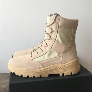 DHL Free New Season High Top Kanye West Season Boots 4th Exclusive Luxury Genuine Leather Lace Up Military Desert Stivali per utensili da esterno