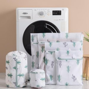 6 Tamaños Bolso de lavado de ropa de poliéster para ropa interior ropa interior Lencería Protegida Bra Bolsa de lavado Bolsos de impresión Cactus