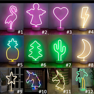 Led Neon Light Sign Holiday Xmas Party Wedding Decorations Kids Room Home Decor Flamingo Moon Unicorn Neon Lamp