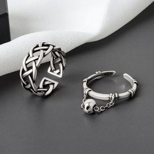 925 Sterling Silber Vintage Ringe Kreative Webart Quaste Runde Ball Geometrische Ring für Frauen Partei Schmuck Zubehör JZ226