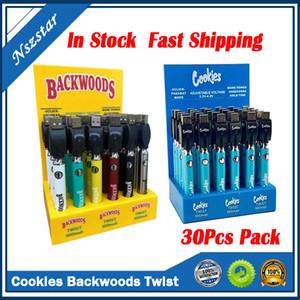 Cookies Backwoods Twist VV Battery Preheat Bottom Voltage Adjustable 900mAh Vape Pen Cartridge 510 EGO Battery with Display Box 30Pcs Pack