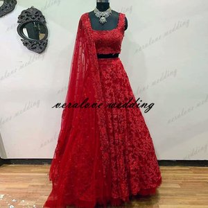 Stuning Vestido 2 En 1 Indian Prom Evening Dress Red Lace Appliques Arabic Dubai Bridal Party Gowns Robe De Soirée De Mariage