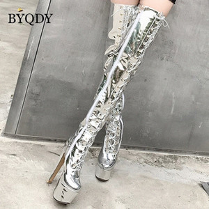 Byqdy Ultra Yüksek Topuklu Platformu Kadın Çizmeler Diz Üzerinde Parlak PU Deri Yuvarlak Toe Lace Up Zip Uzun boylu Kızlar için Xmas Uyluk Ayakkabı E1LD #