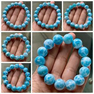 Genuine Natural Blue Larimar Round Beads Top Quality Larimar 10-16mm Water Pattern Women Man Stretch Bracelet