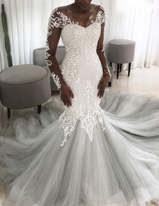 African Lace robe de soiree Illusion Back Mermaid Wedding Dress Fashion Princess Long Tail Wedding Gowns with Sleeves