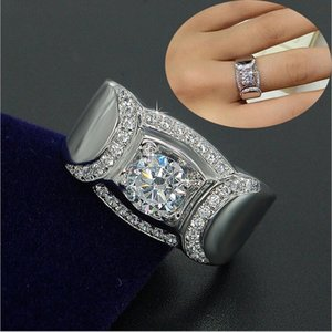 Cluster Rings Luxury Male 7mm Lab Diamond Ring Real 925 Sterling Silver Jewelry Engagement Wedding Band For Men Fine Party Accessory