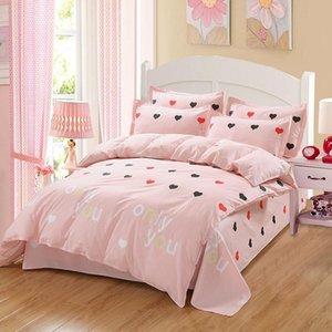 Love постельное белье набор летний стиль одиночный queen king 100% хлопок розовый принцесса девушка одеяло обложка набор кровать листовая кроватая наволочка