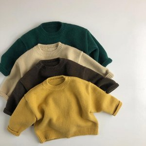 WD INS New Arrival Koren Quality Girls Boys Striped Knitted Sweaters Winter Full Sleeve Unisex kids Pullover Sweater 1-6 Years