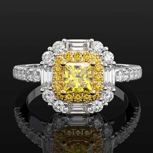 HBP Moda 2021 Nova Simulação de Luxo * 4 Princesa Quadrado Amarelo Diamante Zircão Anel Jóias Mulheres