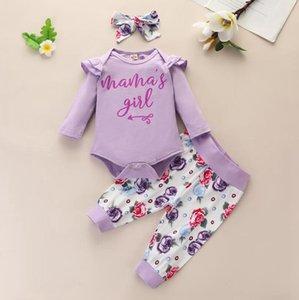 Комплекты детской одежды Письмо Печать Топы Цветочные штаны Оголовье 3 шт. Устанавливает длинный рукав Toddler Sunsuits Одежда Бутическая одежда BT5771