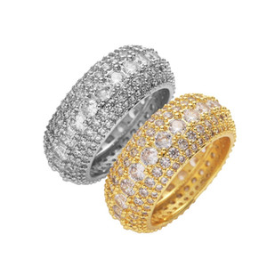 Mens Gold Rings Hip Hop Iced Out Ring Micro Paved CZ Diamond Engagement Wedding Finger Ring for Men Women Luxury Wedding 115 R2