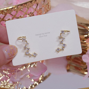 Японкореа нежные ювелирные изделия 14K Real Gold Zircon Dipper Серьги для женщин Простые Стены Серьги