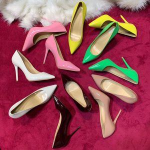 2021 Diseñadores de Lujos Zapatos Mujeres Negro Fondos rojos altos Tacones Altos Sexy Punta puntiaguda Suela Piso 6.5cm 12 cm Bombas Bombas Vestido de novia Zapatos desnudos