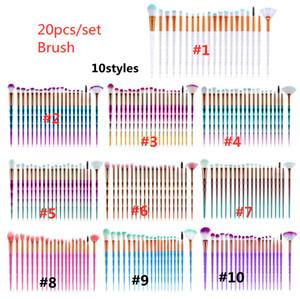 Belleza Diamante Maquillaje Pinceles 20 unids Conjunto Polvo Cepillo Kits Face Y Ojo Cepillo Puff Batch Cepillos Coloridos Cepillos Fundaciones