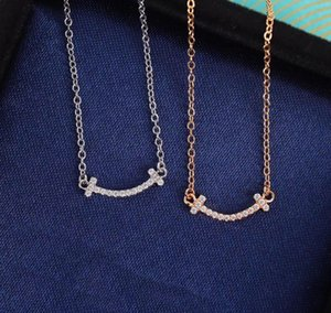 S925 silver top quality pendant necklace in smile shape with diamond for women wedding jewelry gift with velet bag free shipping PS3766