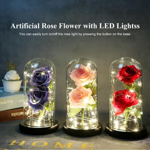 Artificial Rose in Glass Dome with LED Lights Artificial Flowers Forever Rose Gift for Women Mother's Day Valentine Wedding