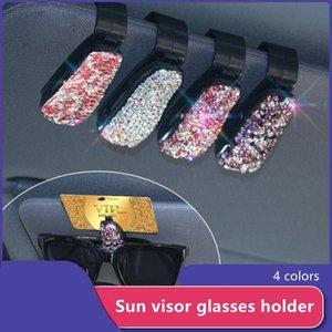 Other Interior Accessories 1PC Sun Visor Glasses Cases Sunglasses Eyeglasses Holder Portable Auto Fastener Clip Rhinestone Diamond Decoratio