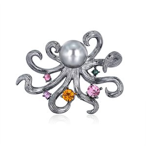 Nuova personalità Antique Silver Silver Polopus Spilla di cristallo Perla Animale Pins per le donne Accessori per gioielli Regali