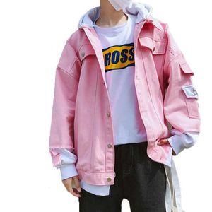 Spring Unisex Hooded bomber Handsome Denim Jacket Loose Harajuku BF Spliced Female Jeans Holes Plus Size Coat 210531