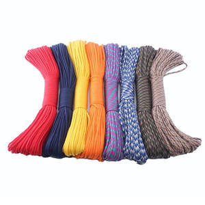 Wholesale 300 Pcs Lot Paracord 550 7 Strands Rope Lanyard Cord 4mm Outdoor Camping Survival Parachute Rope DHL Free