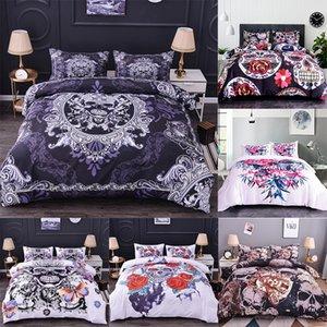 Boniu 3D Schwarz Weiß Schädel Bettwäsche-Sets 2/3 stücke Zucker-Schädel-Bettbezug mit Kissenbezug-Skeleton-Druck-Bettdecke für Queen-Size 210309