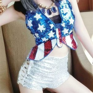 Sexy Sequins Tank Tops UK Flag Butterfly Shaped Sequined Cropped Tops Rope Up Bellyband Ds Dance Show Clubwear Woman T200508