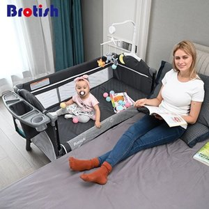 Cuna brotish multifuncional plegable portátil recién nacido bebé cama de cama cuna costura juego juego cama removible 210311