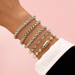 5pcs set Vintage Simple Silver Color Bracelet for Women Bead Chain Beaded Bracelets Bangles Sets Boho Jewelry