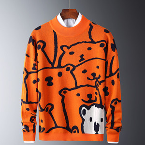 Mens Autumn Casual Sweaters Polar Bear Pattern Trendy Slim Sweaters Cotton Long Sleeve Round Collar Male Warm Pullovers Orange