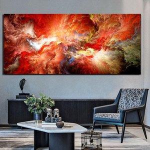 ААХХ Холст Современное искусство Красное масло живопись абстрактное огненное облако Независимые настенные настенные фотографии для живой комнаты и печати
