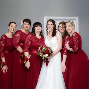 Elegant Wine Red Chiffon Long Bridesmaid Dresses Pretty A Line Lace Cheap Wedding Guest Dress Plus Size Formal Party Vestido De Festa Longo